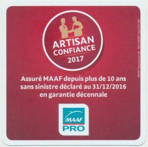 Carte d'Artisan assuré MAAF depuis plus de 10 ans sans sinistre déclaré au 31/12/2016